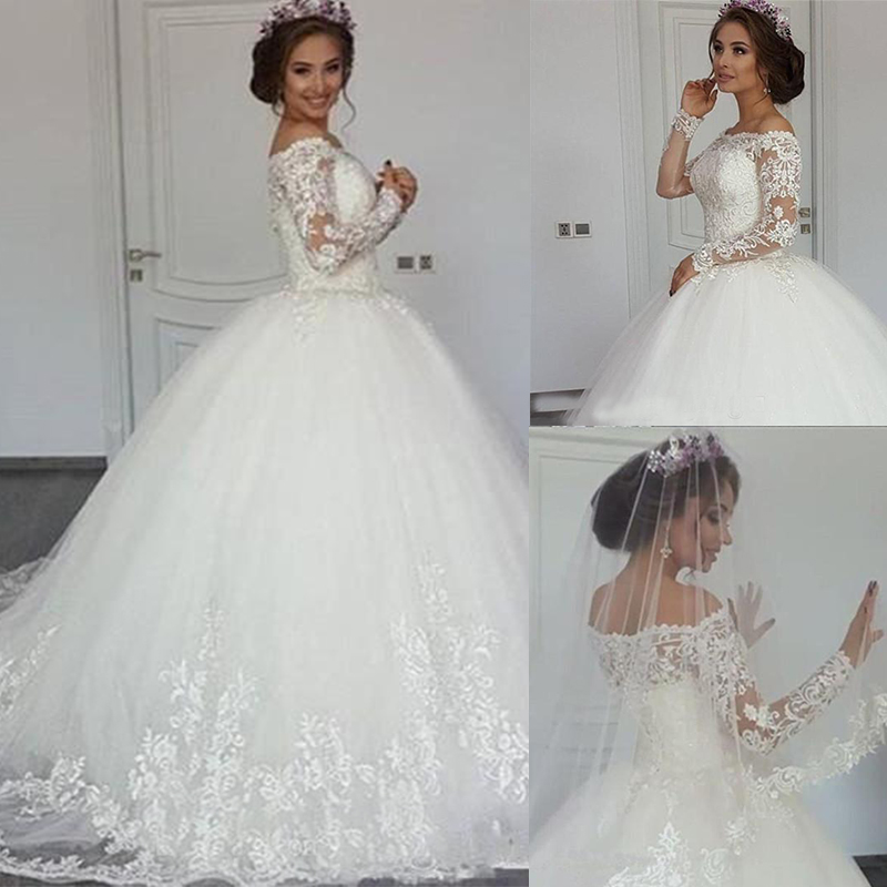 Robe De Mariee Wedding Dresses Ball Gown Off Shoulder Long Sleeve Bridal Gowns With Lace Applique