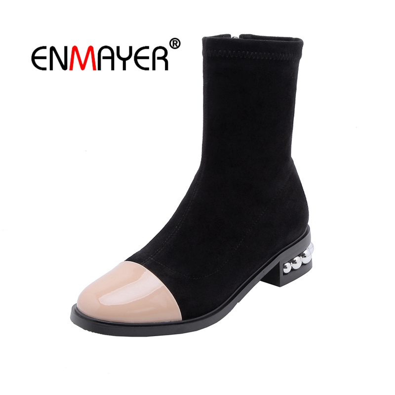 Bottines 39 Causales Apricot Bout Pointu Strass black Taille Daim Chaussures Enmayer 34 Talons Cr1667 Hiver Noir Med Courtes Femme Mince 8mNwOv0yn
