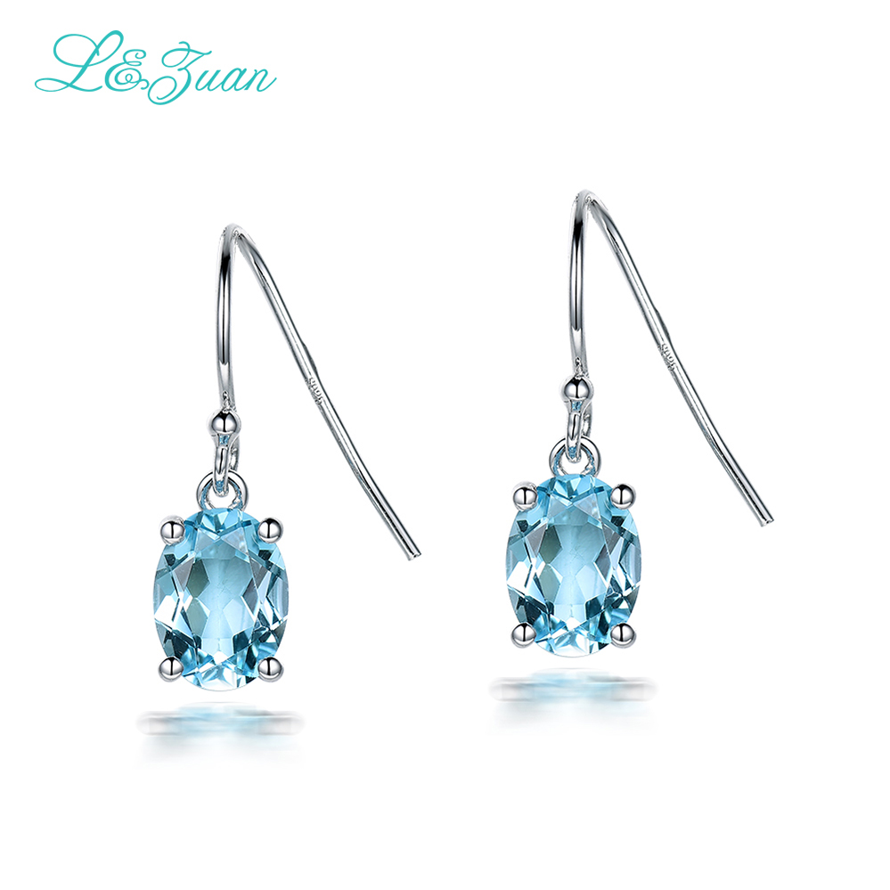 I&zuan Blue Oval Stone 925 Sterling Silver Natural 2.722ct Topaz Drop Earrings For Women Elegant Fine Jewelry Dangle Earrings diva 5 0ct natural swiss blue topaz sterling silver feather dangle earrings