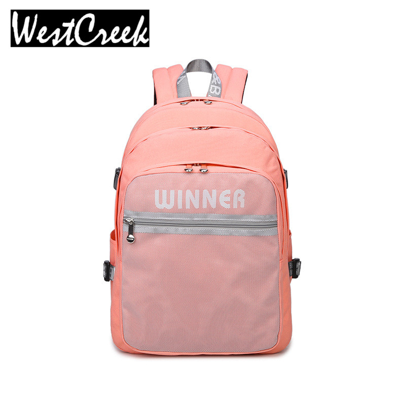 2017 High Quality Solid College Students Pink Backpack Teens Girls Designer Outside Mesh Bag Waterproof Polyester