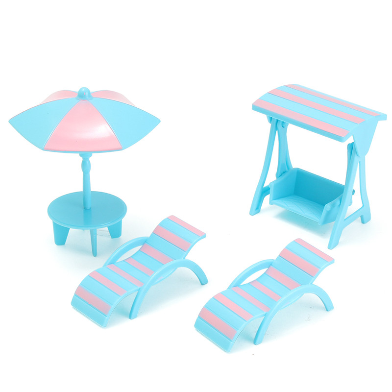 New Arrival 4Pcs/set Dolls House Furniture Plastic Beach Scene Set  Miniature DIY Accessories For Kids Child Play Furniture Toy