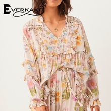 Everkaki Vintage women rayon beach floral print bohemian blouse shirt ladies v-neck flare sleeve lace-up loose Boho shirts blusa