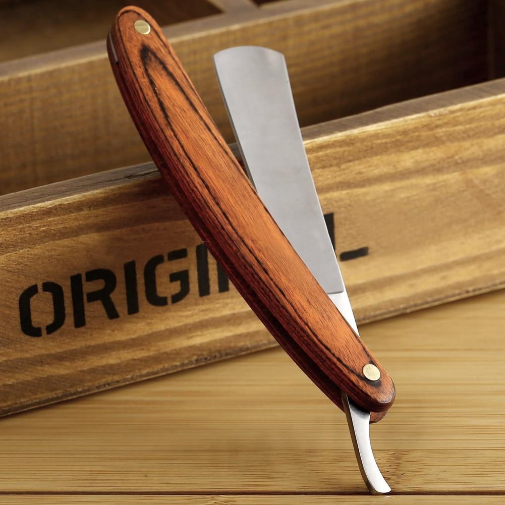 Vintage Old Shaving Knife Straight Edge Stainless Steel Barber Razor Folding Shaving Knife Hair Removal Tools Wooden Handle