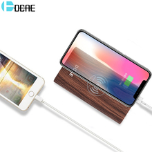 DCAE QI Wireless Charger Power Bank 10000mah Wood Texture External Battery Powerbank for iphone X 8 Plus Samsung Galaxy s9 s8 s7