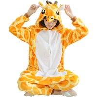 2017 Lovers Giraffe Unisex Adult Flannel Hooded Pijamas Pajamas Animal Onesies Cosplay Cartoon Cute Sleepwear For