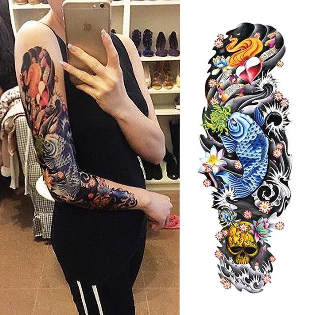 135 10 De Descuentonueva 1 Unidades Tatuaje Temporal Etiqueta Vieja Escuela Completa Flor Tatuaje Con Brazo Cuerpo Arte Grande Falso Tatuaje