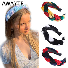 AWAYTR New Knot Braid Velvet Headband for Women Hair Loop Ladies Patchwork Color Fashion Bezel Headwear Female Accessories