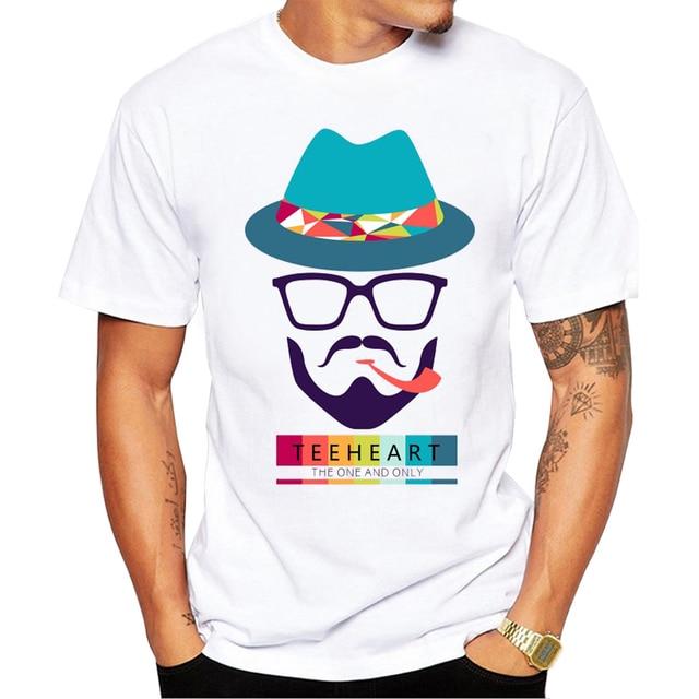 db1f0f8e1 Men's Beard Art Colorful and Pipe Print T-Shirt Summer Hipster T shirt Men  Summer White Short Sleeve O Neck Tees la090