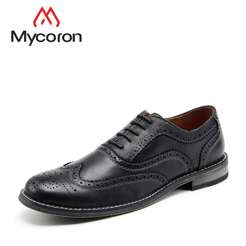 Mycoron 2018 New British Fashion Brand Style Leather Mens Dress Shoes High Quality Shoes For Men Lace-Up Business Men Shoes все цены