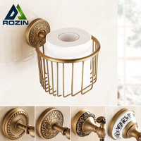Wholesale and Retail Antique Brass Wall Mounted Roll Paper Holders Basket Free Shipping Bathroom Paper Tissue Rack