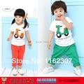 O envio gratuito de menino de verão conjuntos de roupas de alta qualidade crianças roupas definir t shirt + calças 2 pcs