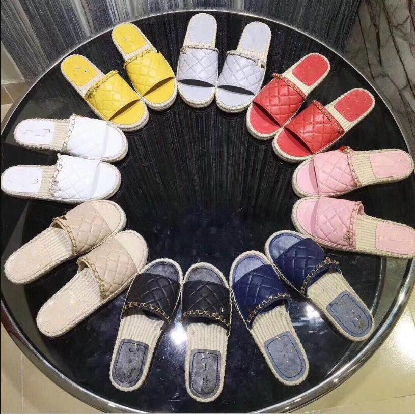 2019 nouvelles femmes d'été pêcheur chaussures fond plat chaîne mot chaussures de plage mode tissage femmes pantoufles