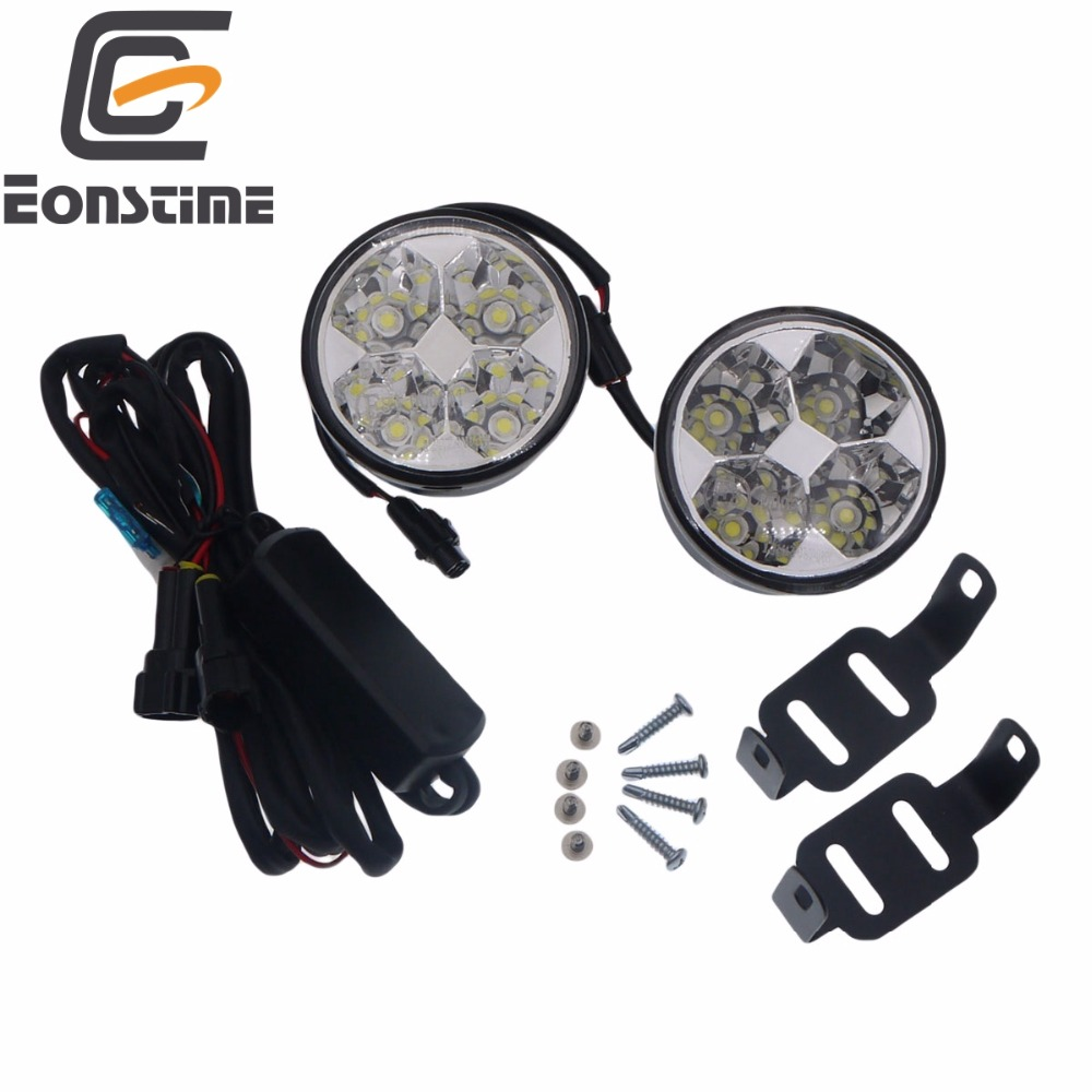 Eonstime 2 piezas 12 V/24 V 4LED 4 W Auto día niebla DRL luz de conducción LED lámpara 6000 K impermeable arnés (controlador) de