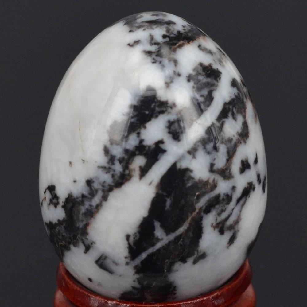 White Marble Gemstone : Mm natural gemstone black white zebra sphere egg