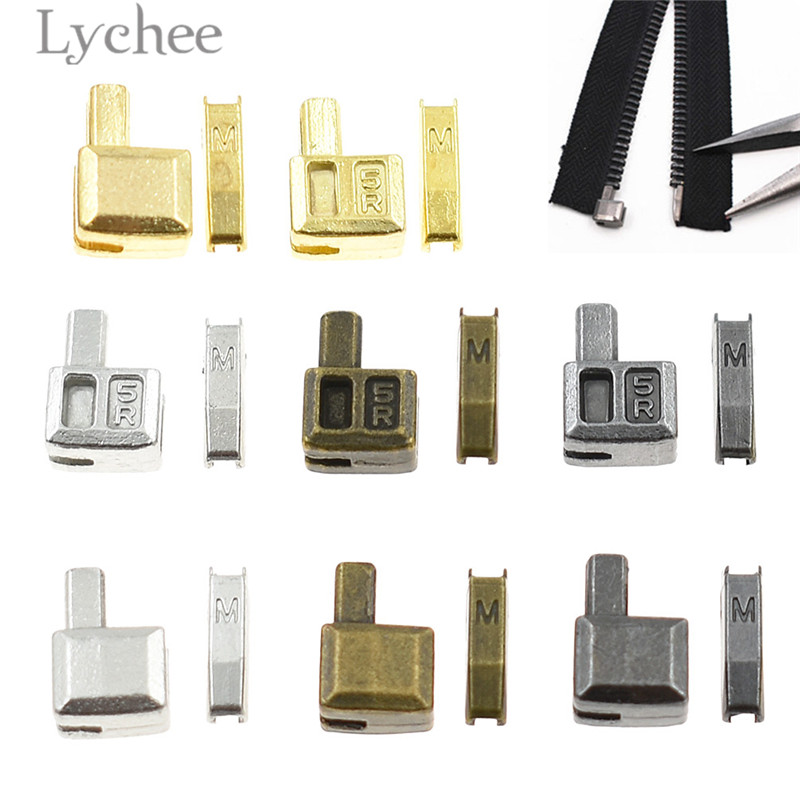 Lychee 10 Sets Metal Repair Zipper Stopper Open End Zipper Stopper DIY Sewing Zipper Accessories for Clothes