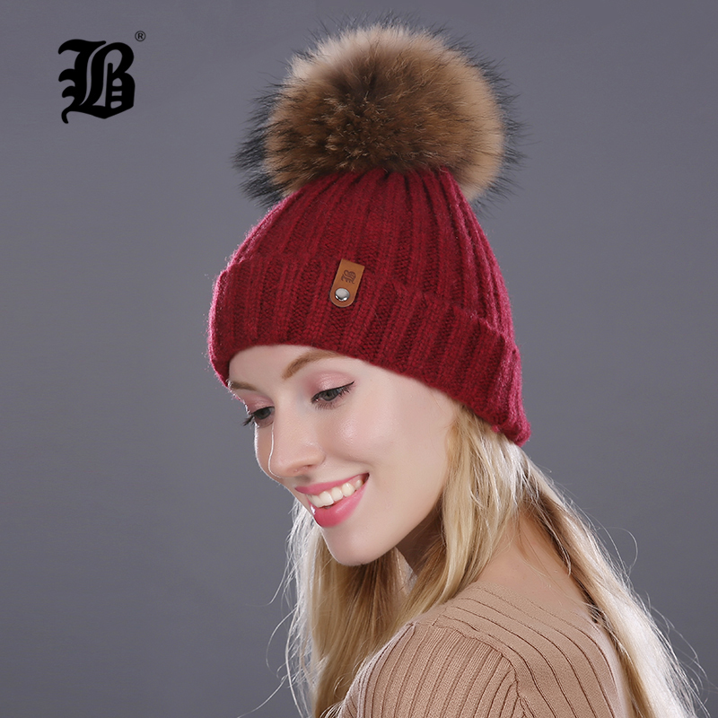 [FLB] Winter Hat For Women Girls Knitted Wool Beanies Cap Natural Raccoon Mink Fur Pom Poms Hat Female Bonnet Femme Skullies skullies beanies mink mink wool hat hat lady warm winter knight peaked cap cap peaked cap