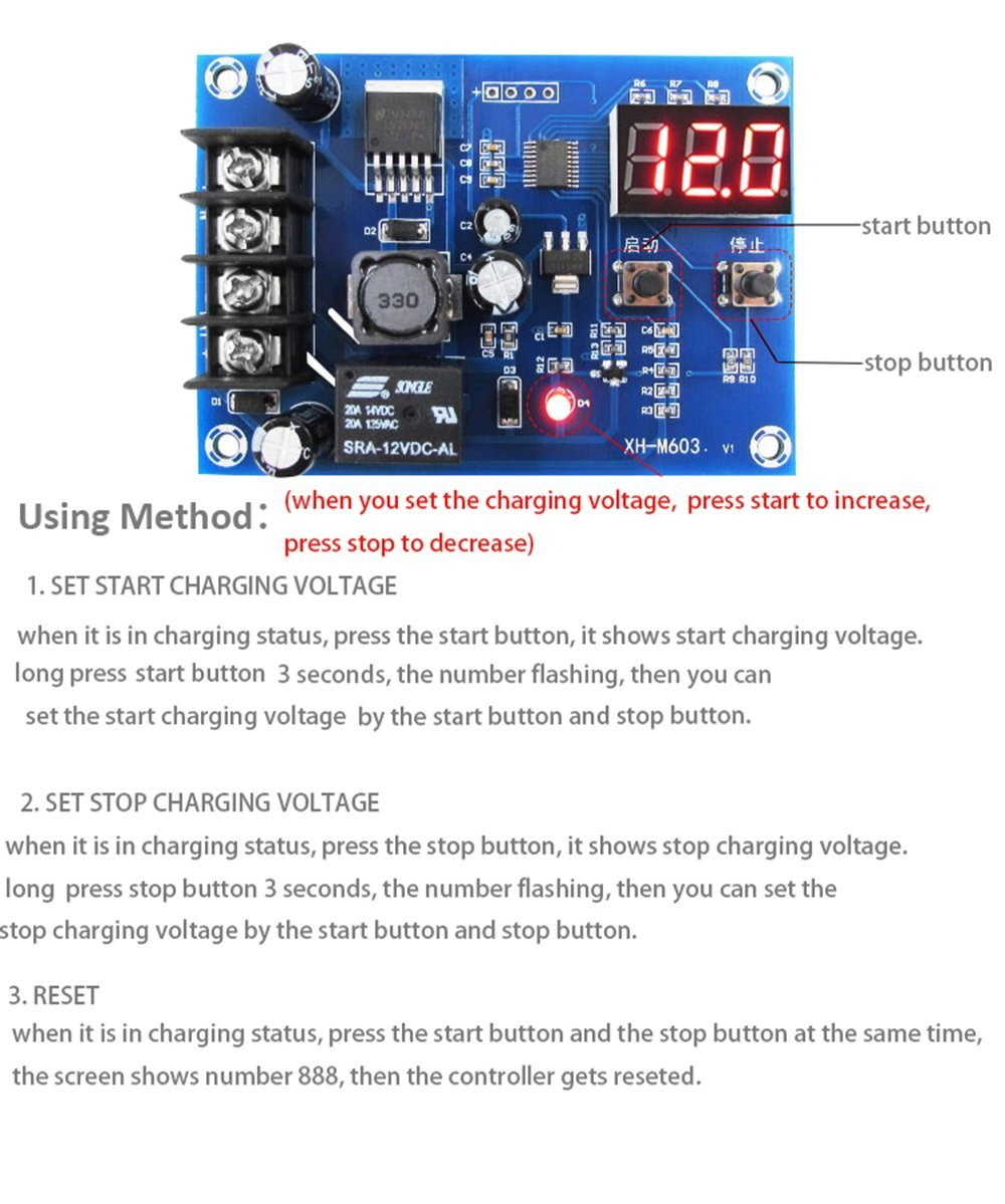 Low Voltage Disconnect Module LVD Digital Display On Off Relay Charge Controller