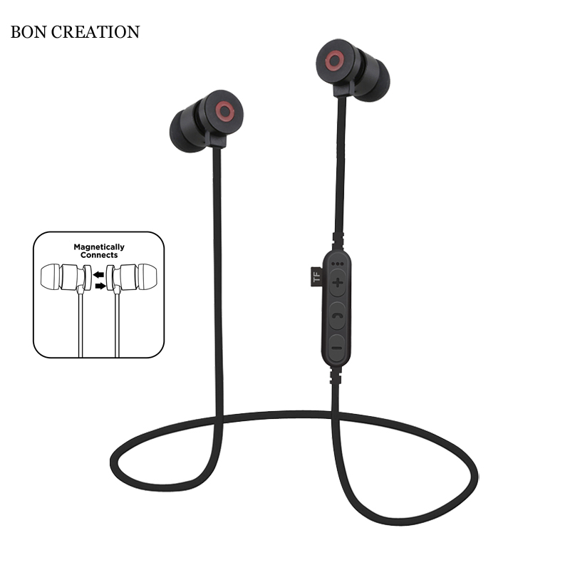 Newest BON CREATION T9 Magnetic Sports Headphones Bluetooth Earphones Wireless Running Headset Support TF/SD Card for Phones