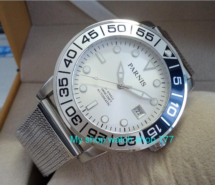 42mm PARNIS Sapphire Crystal Japanese 21 jewels Automatic Self-Wind Movement Mechanical watches 10Bar Luminous Men's watches 57
