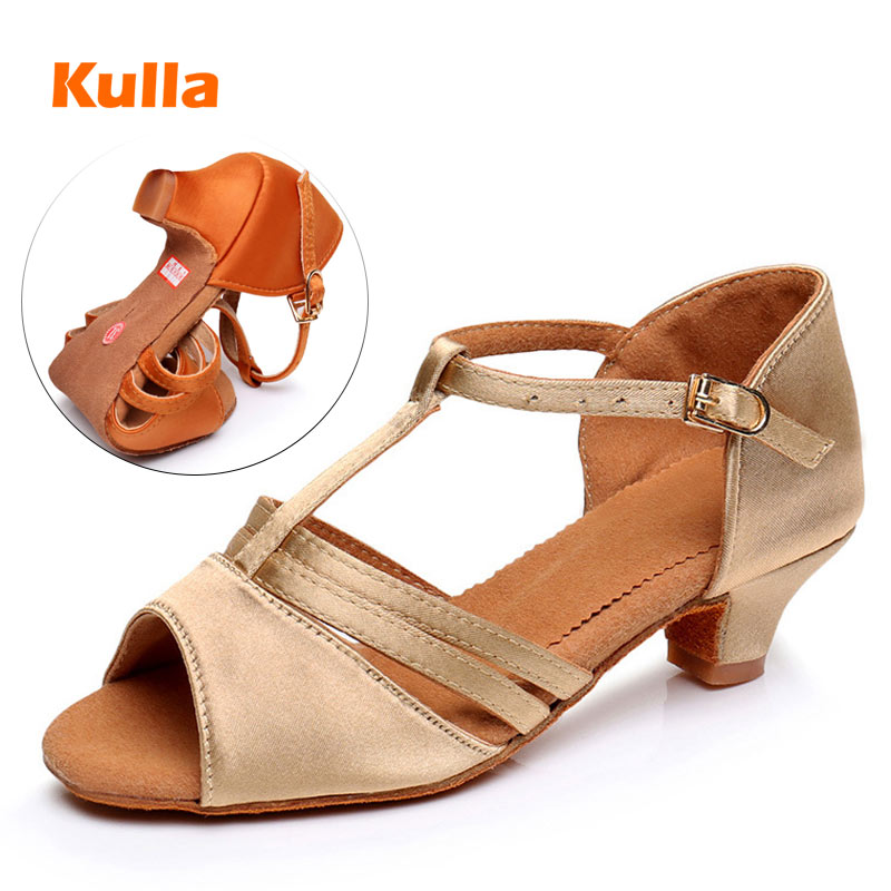 Child Adult Ballroom Latin Shoes For Dancing Middle Heels 4cm  Kids Girls Woman Salsa Practice Dance Shoes Soft Sole Size 26-38