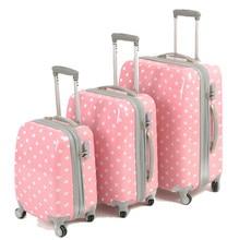 YISHIDUN Cute Polka Dot men  bags women travel suitcase universal wheels trolley rolling luggage bag 18 22 26 inch free shipping