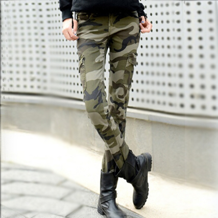 Camouflage cargo skinny jeans