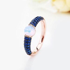 Image 2 - Zwart En Rose Goud Met Blauwe Zirkoon Kristallen Fashion Ring Gift 15 Kleuren