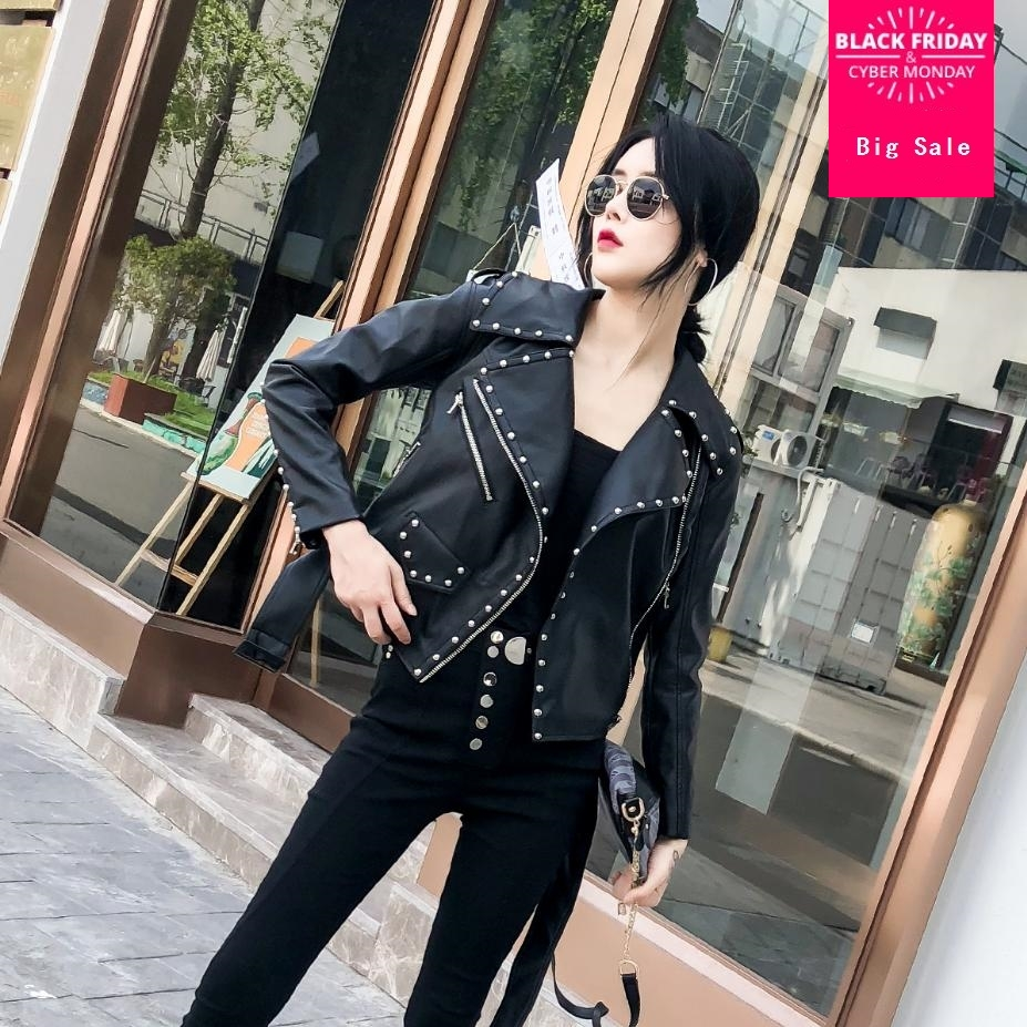 Heavy industry Rivet fashion PU   leather   women jacket short paragraph 2018 autumn winter new loose motorcycle   leather   coat L1541