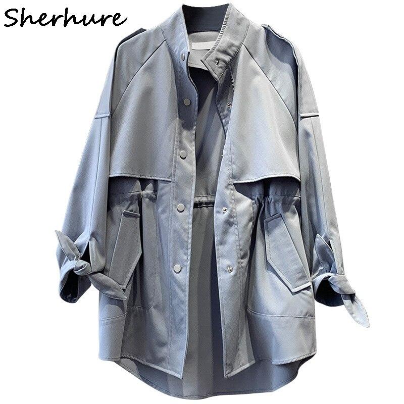 2019 Women Clothes Long Sleeve Stand Collar Ladies Midi Length Coat Khaki   Trench   Femme Casaco Feminino Harajuku Abrigo Mujer
