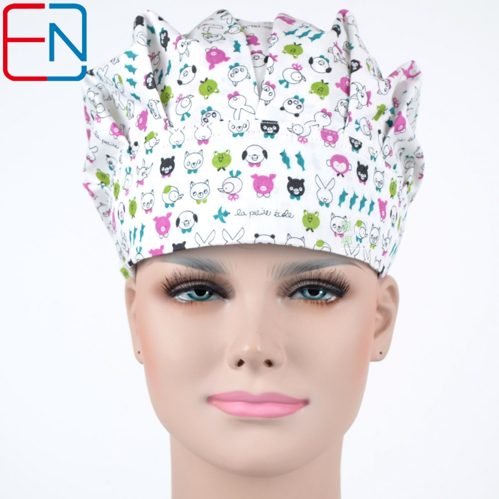 Hennar Medical Scrub Caps 2018 New Hospital Surgical Bouffant Caps 100% Cotton Printed Medical Scrubs Operation Caps Adjustable