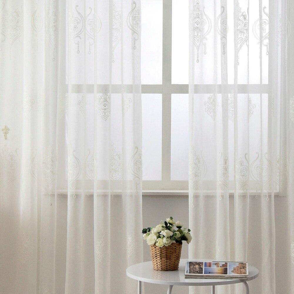 geborduurde tule linnen gordijnen wit europese moderne woonkamer venster behandelingen korte gordijn geborduurde venster sheers in geborduurde tule linnen