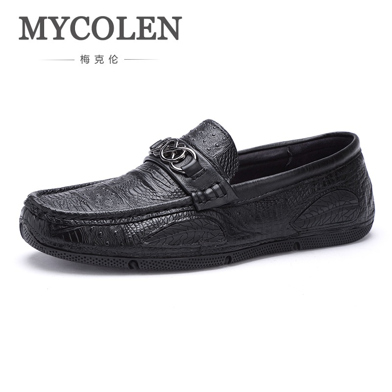 MYCOLEN Spring/Autumn Mens Shoes Top Quality Slip On Casual Men Shoes Italy Leather Loafers Flats Shoes Men Scarpe Uomo Pelle italy golden goose brand men s and women s genuine leather casual shoes low ggdb denim green shoes scarpe uomo 2016