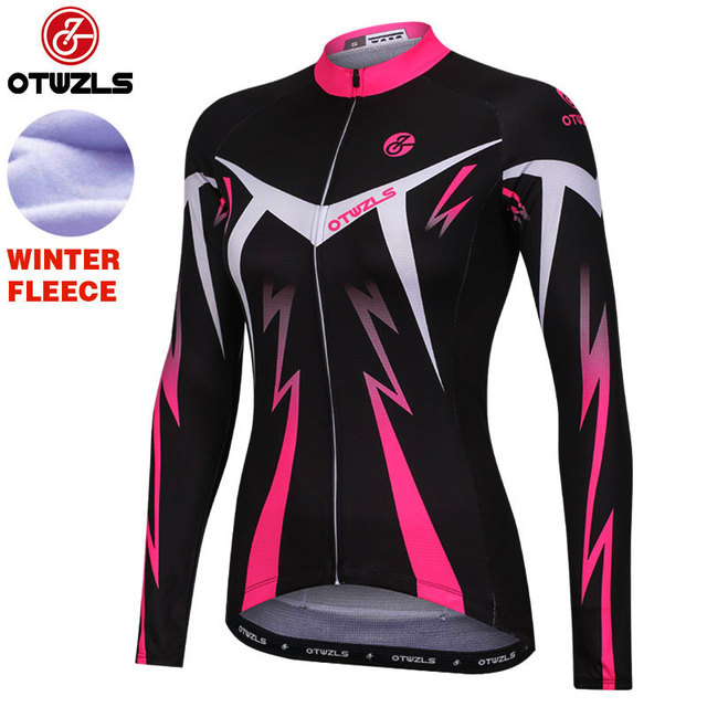 OTWZLS winter cycling jersey thermal fleece woman long sleeve cycling  clothing pro team mountain bike clothes women winter long 839677232