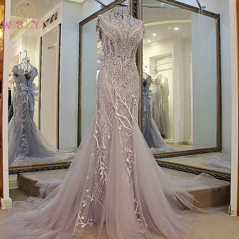 Walk Beside You Gray   Prom     Dresses   Sexy Lace Appliques Backless Crystal Transparent Short Sleeves Mermaid Formal Evening Gowns