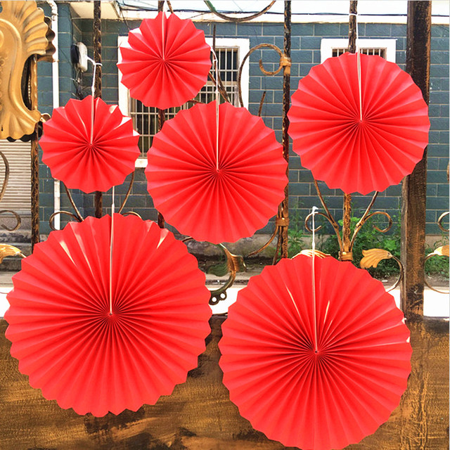 6pcs Red Tissue Paper Cut Out Paper Fans Pinwheels Hanging Flower