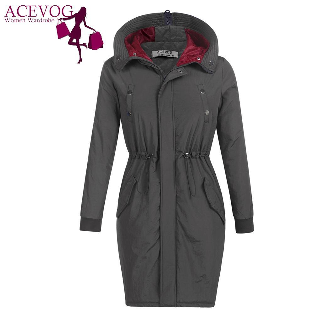 ACEVOG Casual Winter Autumn Women Coat Hooded Basic Winter Female Thickened   Parka   Coat Solid Jacket Women Overcoat Outerwear