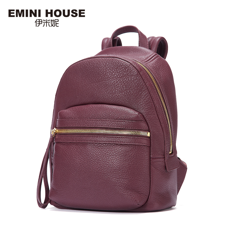 EMINI HOUSE 2016 Fashion Genuine Leather Backpack Women Travel Bag School Bags For Teenagers Multifunction Backpacks Vintage Bag emini house 3 colors fashion nylon women backpack school bags for teenagers women travel bag waterproof drawstring bag