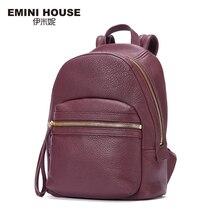 EMINI HOUSE 2016 Fashion Genuine Leather Backpack Women Travel Bag School Bags For Teenagers Multifunction Backpacks