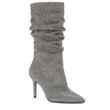 Luxury Full Silver Crystal Slouch Knee High Boots Glitter Bling Shiny Rhinestone Pleated Sexy Lady Heels Shoes Women