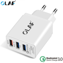 OLAF USB Charger Quick Charge 3.0 3 Ports USB Mobile Phone Charger Smart Wall Charger for iPhone 7/8/X LG Samsung S8 Xiaomi etc