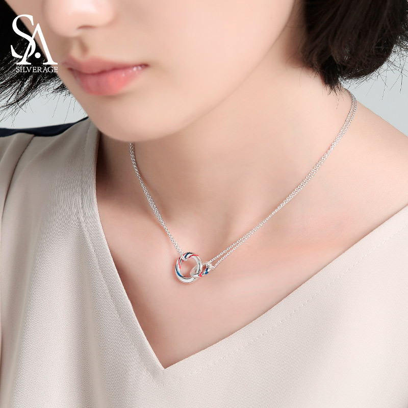 SA SILVERAGE 925 Sterling Silver Double Europa Necklaces Clavicular Chain Pendants Fine Jewelry for Woman