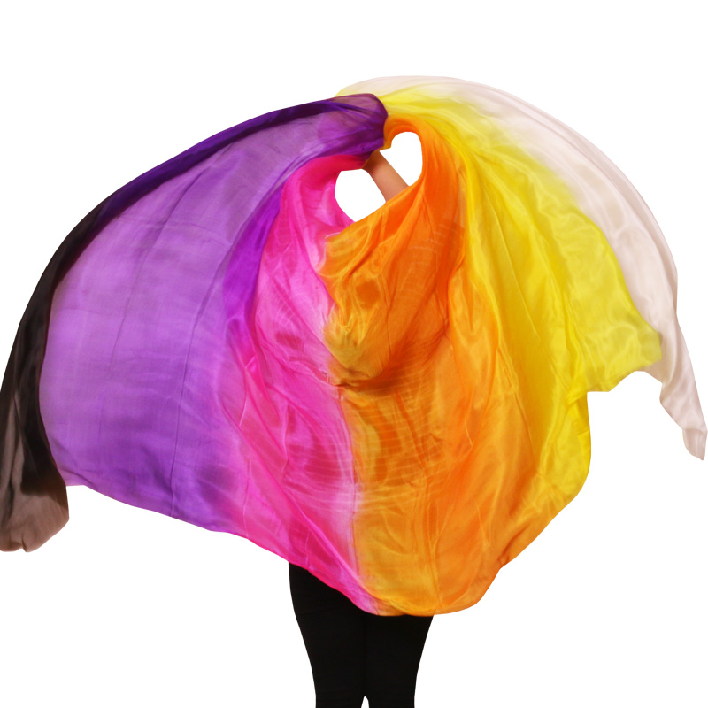 100 Silk Professional Handmade Veils Belly Dance Scarf Shawl Gradient Multi Color Silk Veil Belly Dance Accessories Kids Adults in Belly Dancing from Novelty Special Use