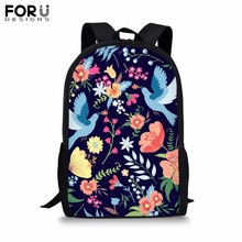 FORUDESIGNS Customize Unique Backpack for Teenager Girl Boy Colorful Flower Print School Bag Childrens BookBag Student Plecak