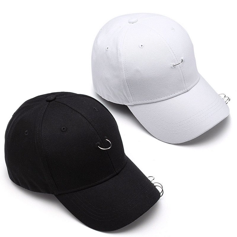 Men Women Baseball Cap Unisex Fashion Hip-hop Ring Safety Pin Curved Hats for Men Women Black White Cool Snapback Caps Sunhat