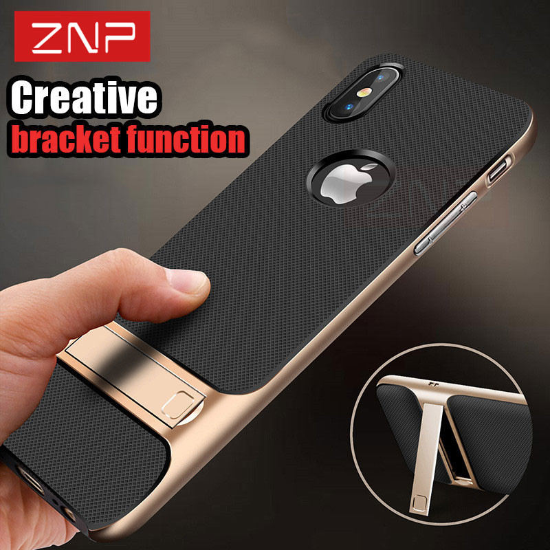 ZNP Luxury Shockproof Cover Case For iphone X 10 Kickstand PC+TPU Shock Proof Holder 360 Protective Phone Case For iPhone...  iphone x cases 360 ZNP Luxury Shockproof Cover font b Case b font For font b iphone b font font