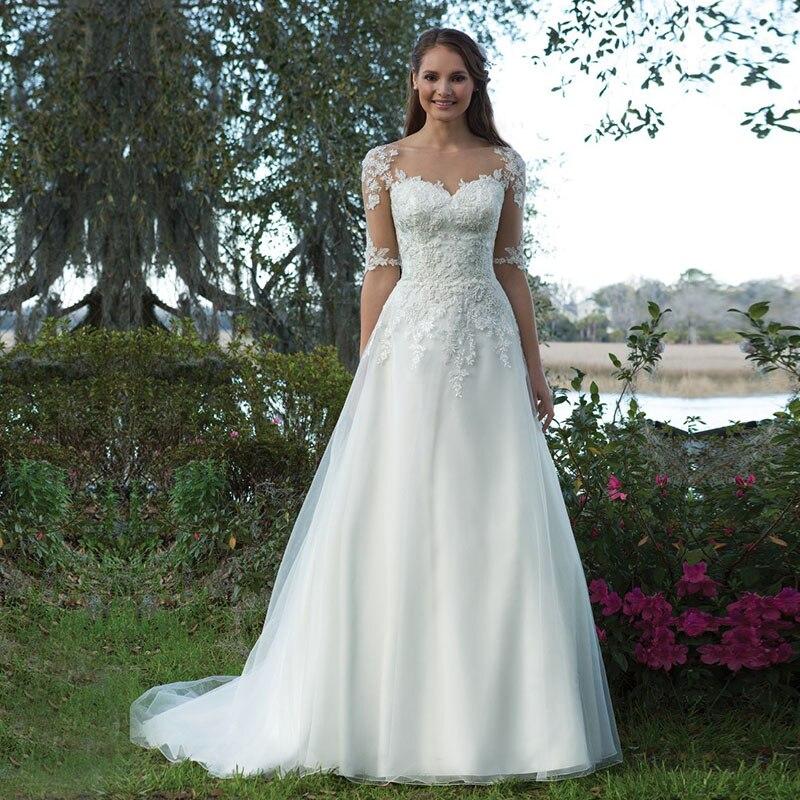 Eightale Wedding Dress with Sleeves Appliques Lace A Line Train Bride Dress Custom Made Plus Size Wedding Gowns vestido novia