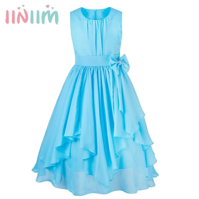 8357718b035 iiniim Teen Girls Hot Summer Dresses Gowns Formal Vestidos Birthday Party  Tutu Chiffon Bowknot Dress Children s