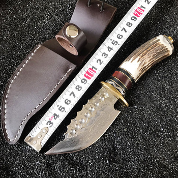 Damascus steel forged straight knife hunting high hardness outdoor self-defense knife tactical army Survival knife EDC tools