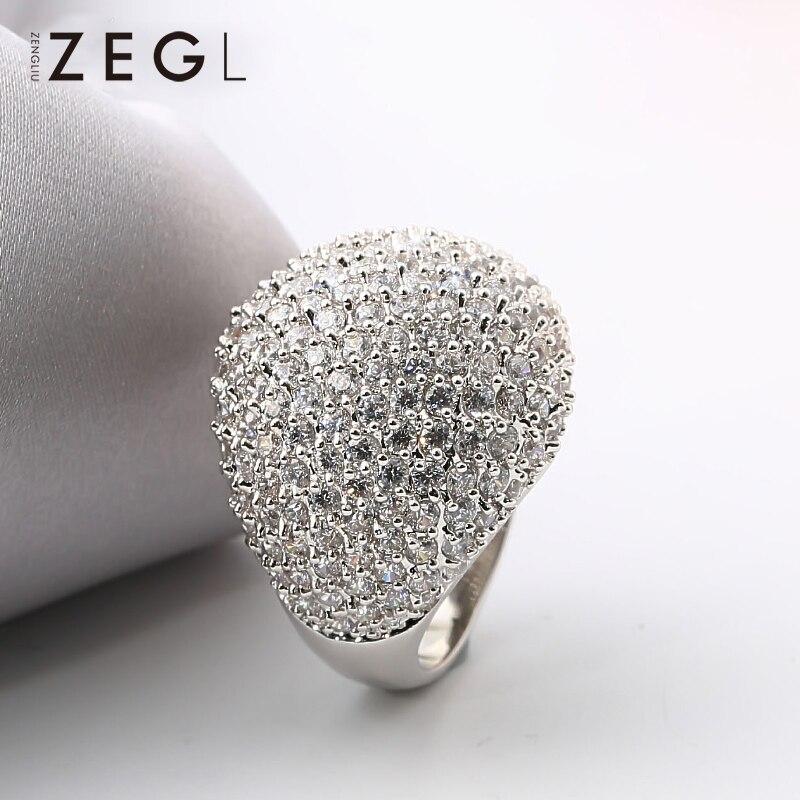 ZEGL bague femme bague mariage bague exquise bague cristal bague zircon cubique
