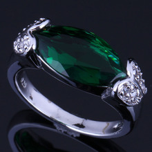 Fabulous Marquise Green Cubic Zirconia White CZ 925 Sterling Silver Ring For Women V0657